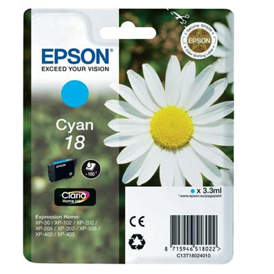 18 T1802 - Epson Cyan   Original Inkjet Cartridge