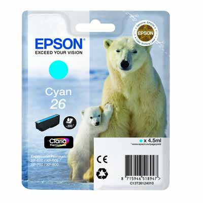 T2612 (26) - Epson Cyan   Original Inkjet Cartridge