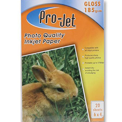 Projet 6x4 (185 gsm) Pack Of  20 Sheets Of Gloss Photo Paper -