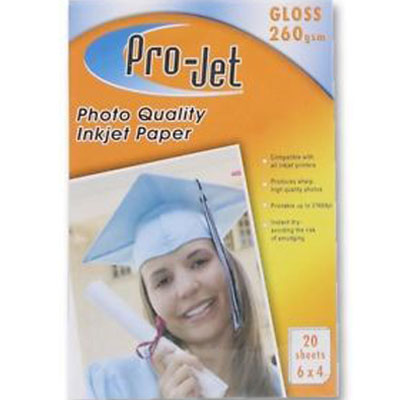 Projet 6x4 (260 gsm) Pack Of  20 Sheets Of Gloss Photo Paper
