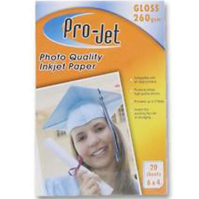 Projet 6X4 Premium (260 gsm) Pack Of  20 Sheets Of Gloss Photo Paper