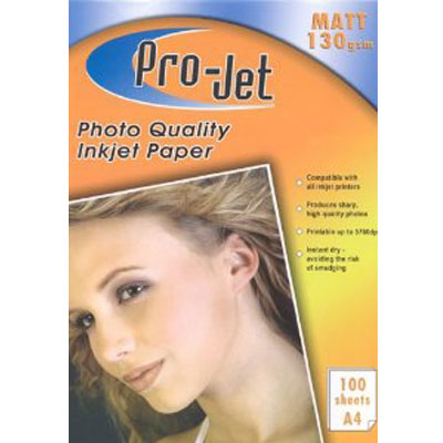 Projet A4 (130 gsm) Pack Of  100 Sheets Of Matt Photo Paper