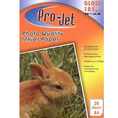 Projet A4 (185 gsm) Pack Of  20 Sheets Of Gloss Photo Paper -