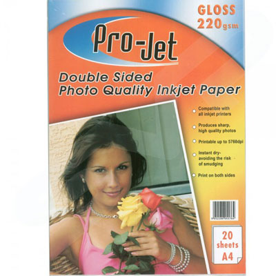 Projet A4 Double Sided (220 gsm) Pack Of  20 Sheets Of Gloss Photo Paper