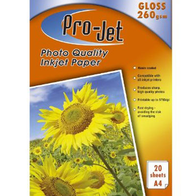 Projet A4 Resin Coated (260 gsm) Pack Of  20 Sheets Of Gloss Photo Paper