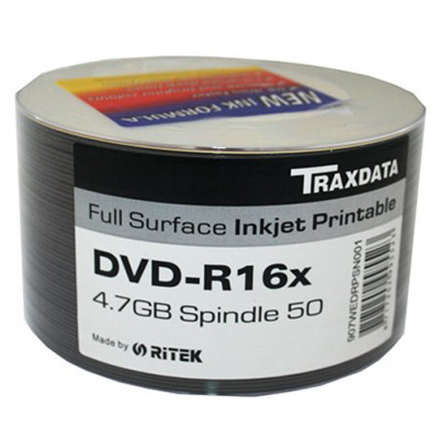 Traxdata DVD-R FF Printable 16X Speed Discs50 Pack Media